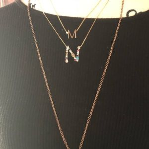 Anthropologie Monogrammed necklace M and N